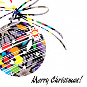 Art christmas ball in rainbow colors with abstract pattern and i — Stock Photo