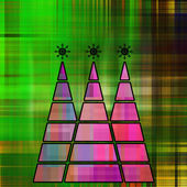 Art three christmas tree in pink, fuchsia and blue colors with a — Stock Photo