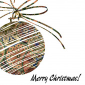 Art christmas ball in brown and rainbow colors with abstract pat — Stock Photo