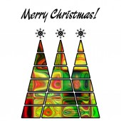 Art christmas three trees in green, gold, red and rainbow colors — Stock Photo