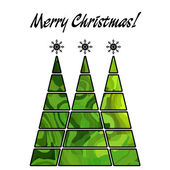 Art christmas three trees in green and gold colors with abstract — Stock Photo