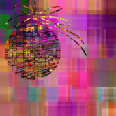 Art christmas ball in gold and rainbow colors with abstract patt — Stock Photo