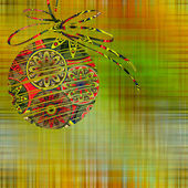 Art christmas ball in green, gold and rainbow colors with abstra — Stock Photo
