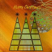 Sanat üç Noel ağacı ve topu br yeşil ve altın renk — Stok fotoğraf