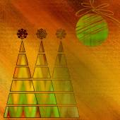 Art three christmas tree and ball in gold, red and green colors  — Stock Photo