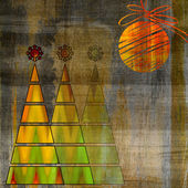 Art three christmas tree and ball in gold and green colors on vi — Stock Photo