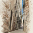 Art watercolor background on paper texture with street  in Venic — Stock Photo #65332321