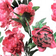 Art vintage watercolor floral seamless pattern with red peonies — Stock Photo #73995317