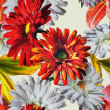 Art vintage floral seamless pattern with red and white gerberas  — Stock Photo #73996883