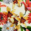 Art vintage floral seamless pattern with red, gold yellow and wh — Stock Photo #73997017