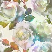 艺术复古水彩花卉无缝图案的白玫瑰 — 图库照片