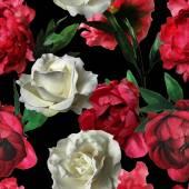 白バラとアート ヴィンテージ水彩花柄シームレスなパターン — ストック写真