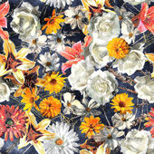 Art vintage watercolor floral seamless pattern with white, gold — Stock Photo