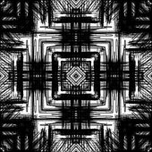 Art sketched naive ornamental black pattern isolated on white ba — Stock Photo