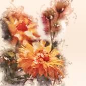 Τέχνη grunge floral vintage ακουαρέλα φόντο με κίτρινα aste — Φωτογραφία Αρχείου