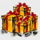 Art digital acrylic painted golden giftboxes with red bows isola — Stock Photo