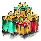 Art digital acrylic painted golden, red and green giftboxes with — Stock Photo