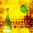 Art christmas colorful graphic tree and ball in green and gold c — Stock Photo #78096482