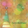 Art christmas colorful graphic tree and ball in green and gold c — Stock Photo #78097374