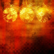 Art christmas golden balls with abstract pattern on gold, red an — Stock Photo #78097976