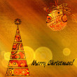 Art christmas colorful graphic tree and ball in gold and red wit — Stock Photo #78098004
