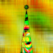 Art christmas tree in green and gold colors with abstract  waves — Stock Photo #78096124