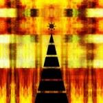 Art christmas graphic geometric black tree on colorful geometric — Stock Photo #78097506