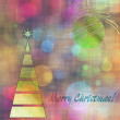Art christmas colorful graphic tree and ball in green and gold c — Stock Photo #78097604