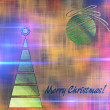 Art christmas colorful graphic tree and ball in green and gold c — Stock Photo #78097842