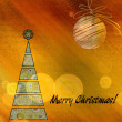 Art christmas colorful graphic tree and ball in green and beige — Stock Photo #78097940