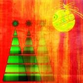 Художественные три рождественских елки и шар в золотых и зеленых цветах на vi — Стоковое фото