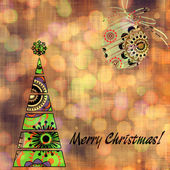 Art christmas colorful graphic tree and ball with abstract flora — Stock Photo