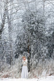 Mooie vrouw in winter forest — Stockfoto
