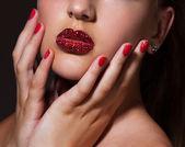 Diamond lips — Stock Photo