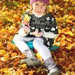 Sweet little girl  in fall time — Stock Photo #80164152