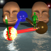 Grüne alien vor zwei seltsame köpfe — Stockfoto