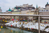 Love locks in Salzburg Austria — Stock Photo