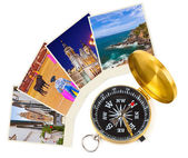 Spain travel images and compass (my photos) — Stock Photo