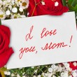 Roses bouquet and card for Mother — Stock Photo #53012203