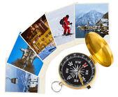 Hory lyžovat rakousko obrazy a kompas — Stock fotografie