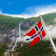 Norway flag and waterfall — Stock Photo #54017427