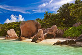 Famous beach Source d'Argent at Seychelles — Stock Photo