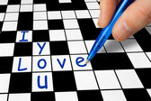 Crossword - I love you — Stock Photo