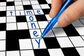 Crossword - Time and Money — Stok fotoğraf