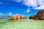 Famous beach Source d'Argent at Seychelles — Stock Photo