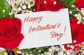 Roses bouquet and Valentines day card — Stockfoto