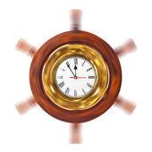 Clock in turning helm — Stock Photo
