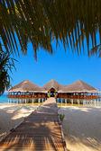 Cafe on tropical Maldives island — Stock Photo
