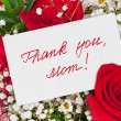 Roses bouquet and card for Mother — Stock Photo #56877639