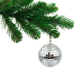 Julgran och mirror ball — Stockfoto